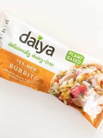 Daiya Tex Mex Burrito on a white table