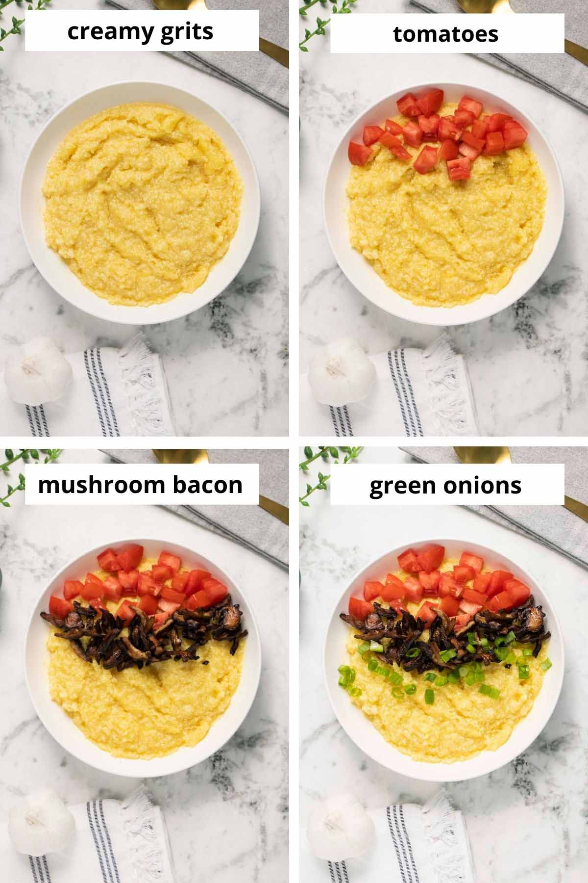 image collage showing vegan cheese grits and adding tomato, mushroom bacon, and green onion to the top