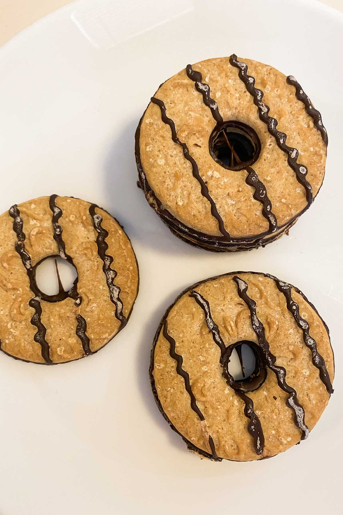 Back to Nature Fudge Stripe Cookies on a white plate