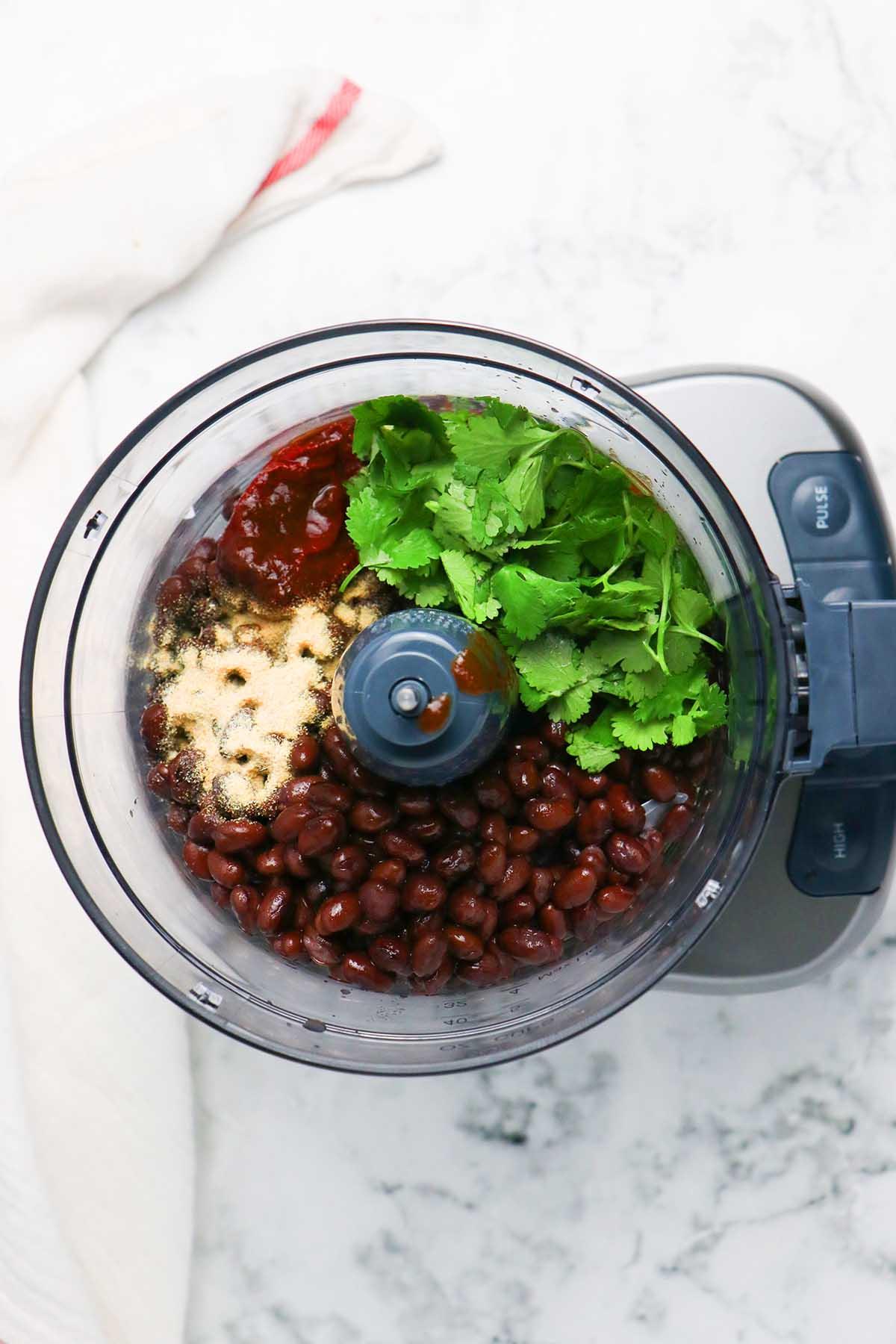 black bean dip ingredients in the food processor