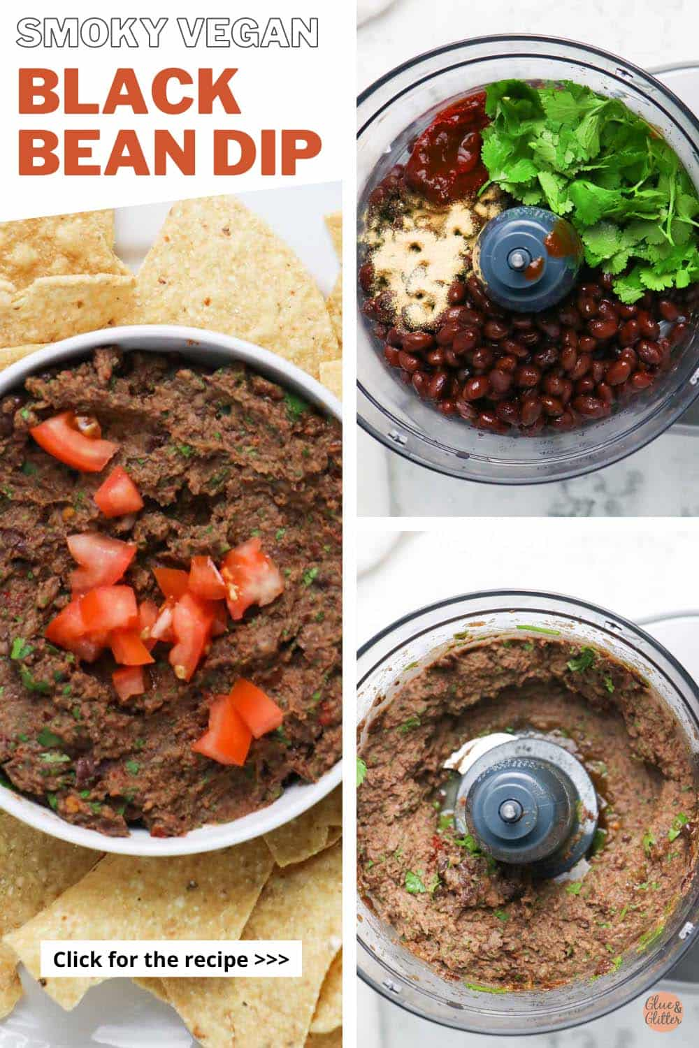 image collage of the black bean dip showing the ingredients in the food processor before and after running it