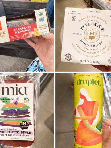 image collage of some of the food we got at Erewhon: crackers, vegan cheese, vegan prosciutto, and Droplet seltzer