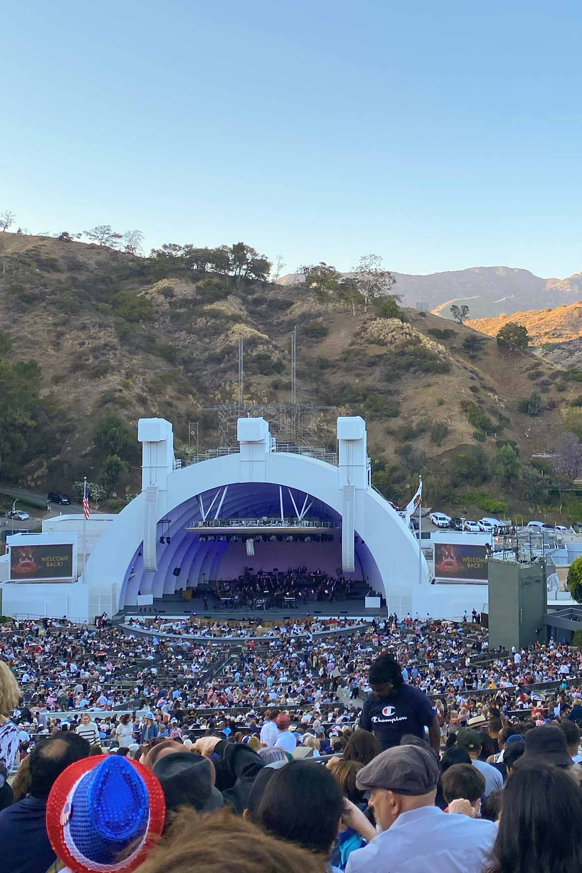 the Hollywood Bowl at dusk on a clear day