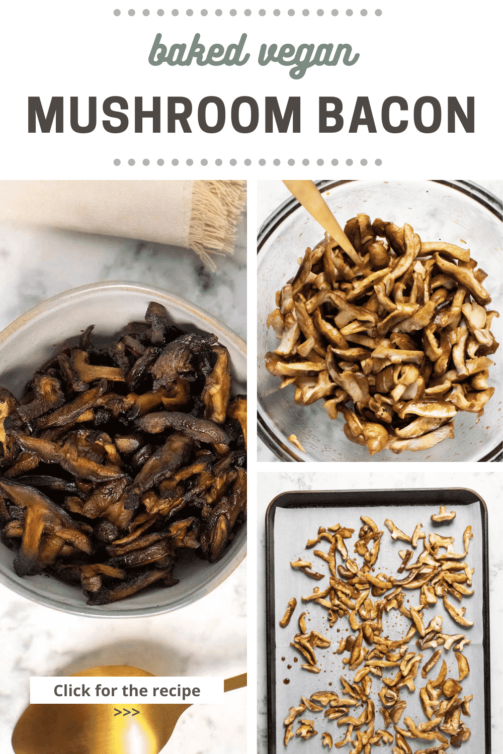 image collage of mushroom bacon ingredients, seasoned mushrooms in a bowl, and spread out on a baking sheet