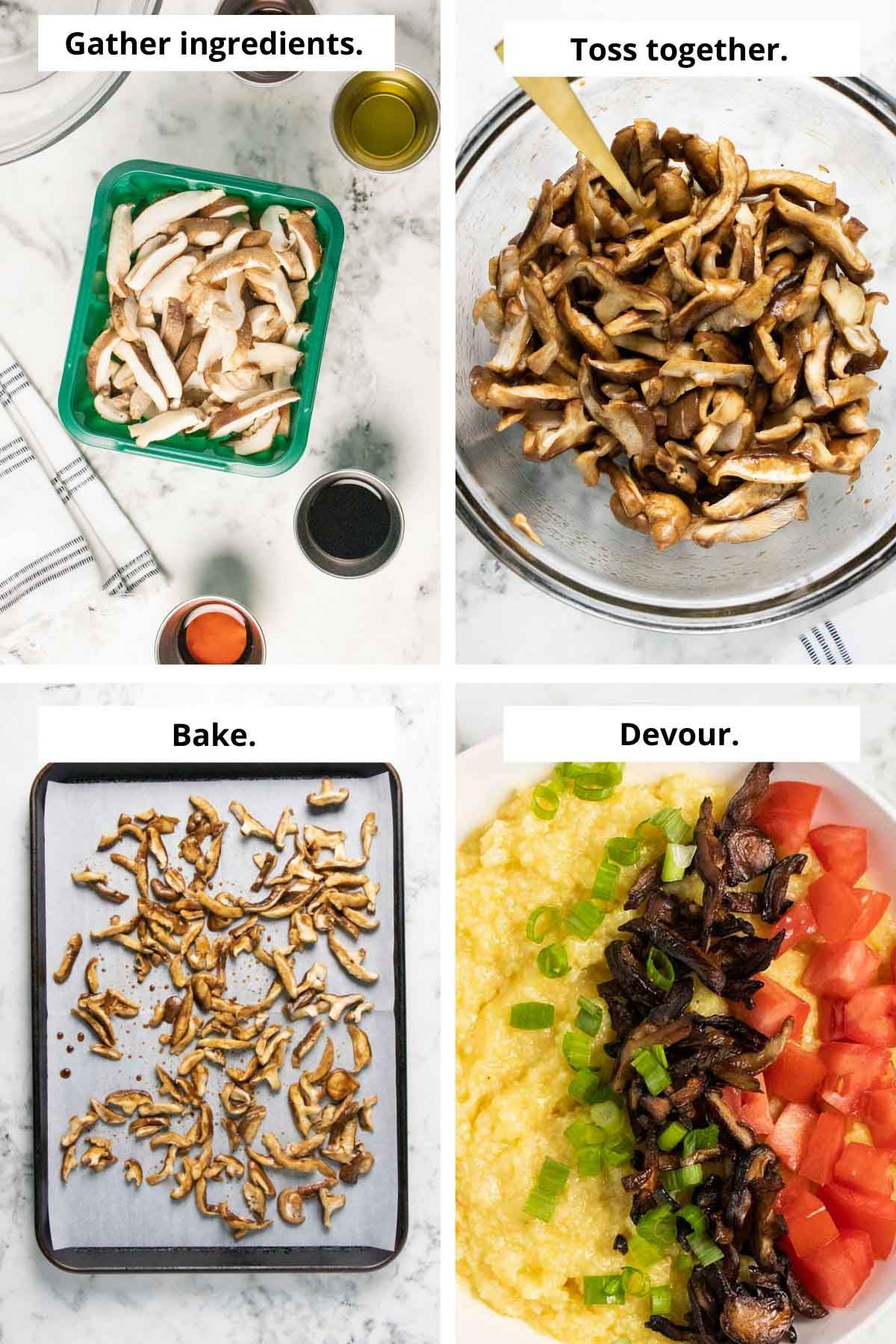 image collage of mushroom bacon ingredients, seasoned mushrooms in a bowl, spread out on a baking sheet, and cooked over grits