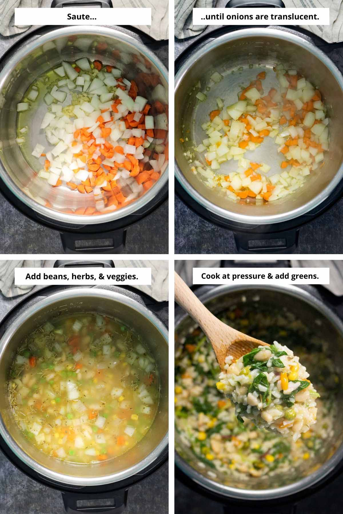 image collage showing onions before and after saute, then with broth and beans in the pot and after cooking