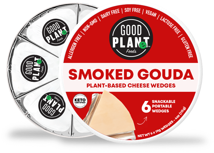 container of GOOD PLANeT Foods Smoked Gouda, open, so you can see the wrapped wedges inside.