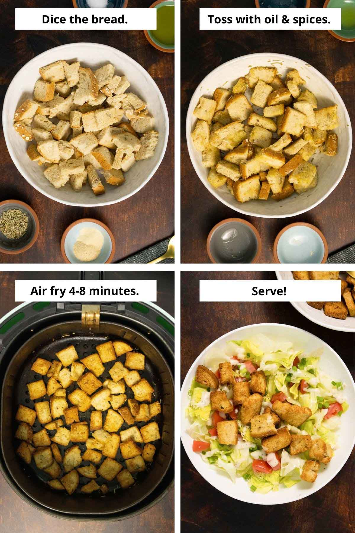 image collage of bread cubes before and after seasoning, croutons in the air fryer basket and on a salad