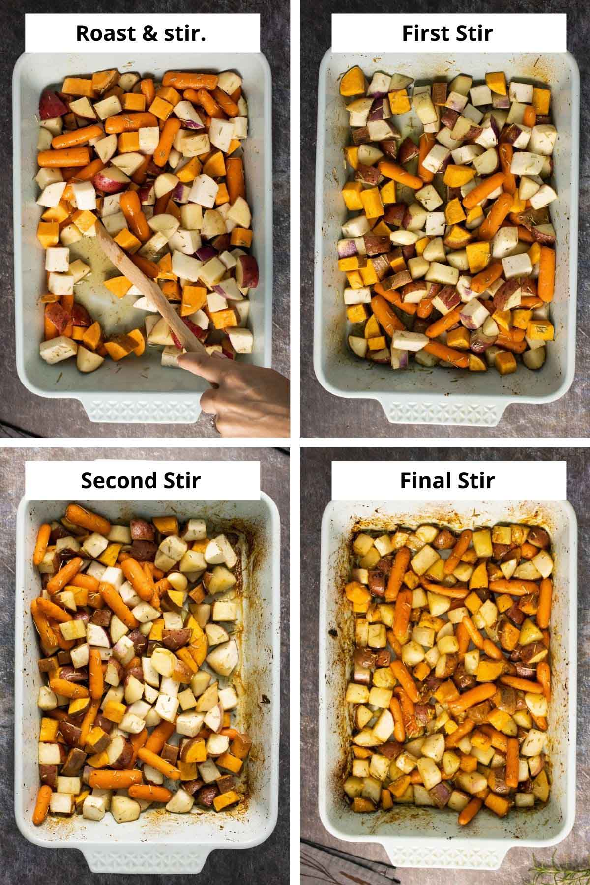 image collage showing the root vegetables in a baking pan at different stages of baking, so you can see the progress