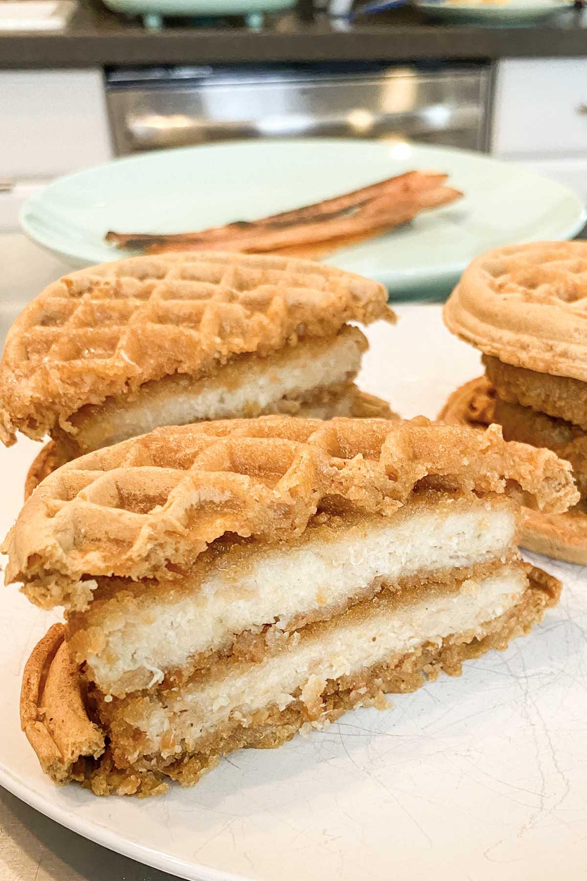 waffle with vegan chicken patties on it