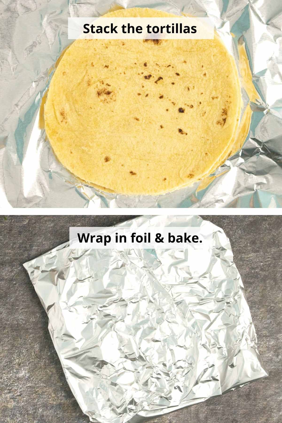 corn tortillas on a piece of foil and then wrapped up for baking