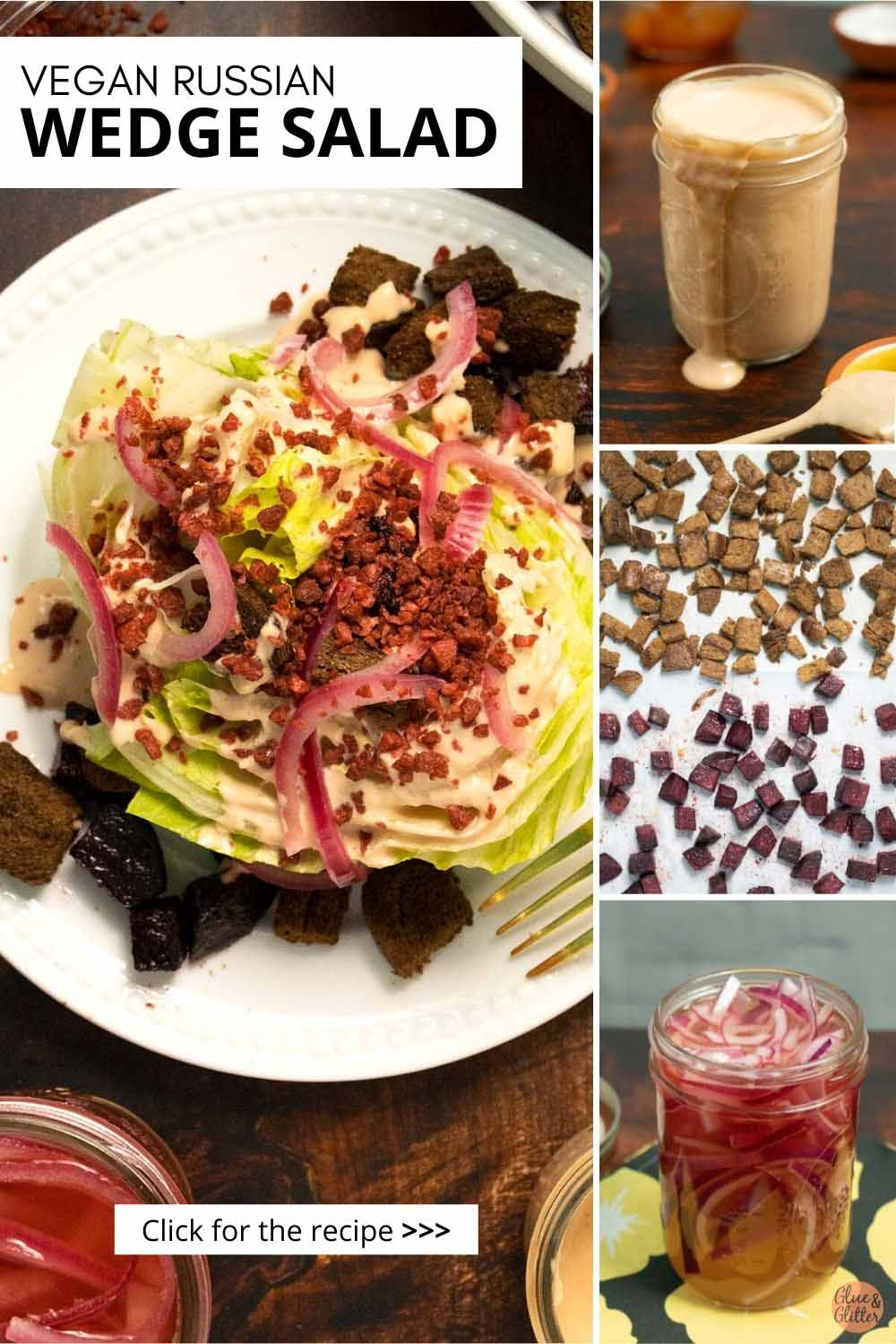 image collage showing wedge salad ingredients next to the finished salad
