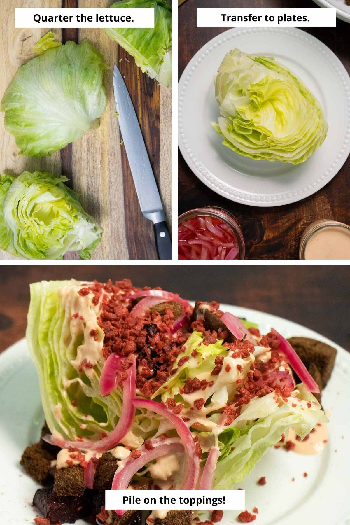 image collage showing preparing the lettuce for the wedge salad